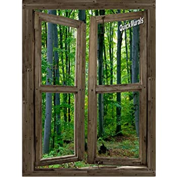 Woodland Cabin Window Peel U0026 Stick Canvas One Piece Wall Mural (36 Inches  Wide Part 86