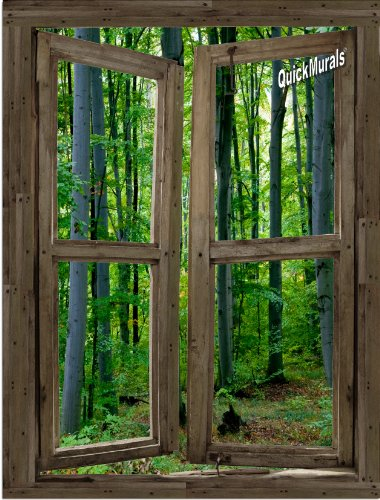 Cabin Window - Woodland Cabin Window Peel & Stick Canvas One-Piece Wall Mural (36 Inches Wide x 48 Inches High) by Quick Murals
