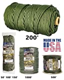 TOUGH-GRID 750lb Camo Green Paracord / Parachute Cord - Genuine Mil Spec Type IV 750lb Paracord Used by the US Military (MIl-C-5040-H) - 100% Nylon - Made In The USA. 1000Ft. - Camo Green