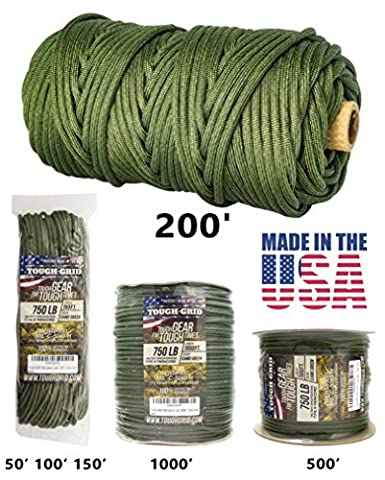 TOUGH-GRID 750lb Camo Green Paracord / Parachute Cord - Genuine Mil Spec Type IV 750lb Paracord Used by the US Military (MIl-C-5040-H) - 100% Nylon - Made In The USA. 50Ft. - Camo (The Hundreds G Shock)