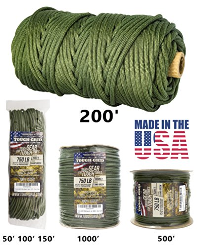 TOUGH-GRID 750lb Camo Green Paracord / Parachute Cord - Genuine Mil Spec Type IV 750lb Paracord Used by the US Military (MIl-C-5040-H) - 100% Nylon - Made In The USA. 50Ft. - Camo Green (Paracord Triple)