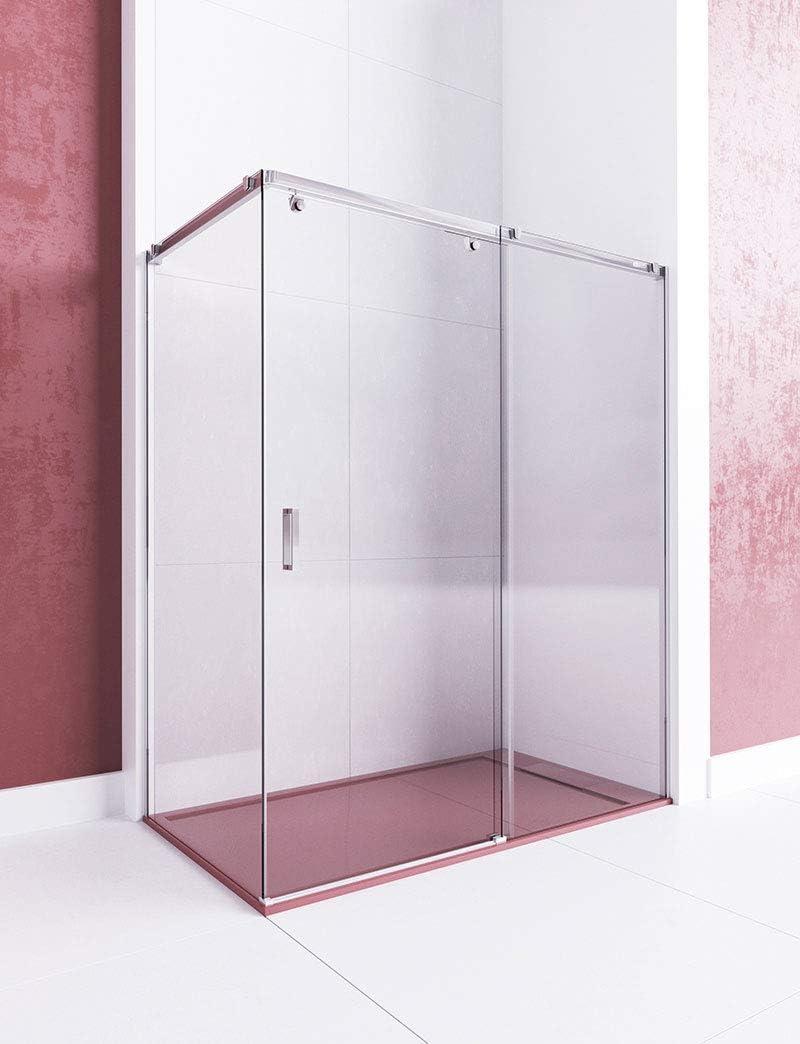 Modelo LUMIERE - Mampara de ducha angular de 2 hojas fijas y 1 puerta corredera - Cristal 6 mm en Puerta y 8 mm en fijos con ANTICAL INCLUIDO: Amazon.es: Bricolaje y herramientas