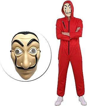 Amycute 2 PCS Disfraz de Ladrón y Máscara, Salvador Dalí Mono Rojo ...