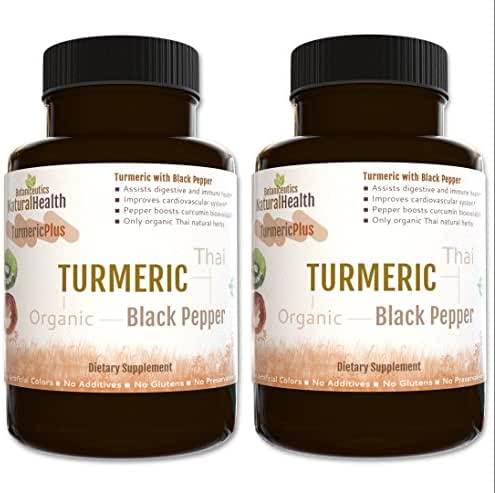 Botaniceutics Organic Turmeric and Black Pepper - 500 Mg - 240 Capsules - 2 Bottles - No additives, no fillers. Natural Curcumin and pepperine for Good Health.