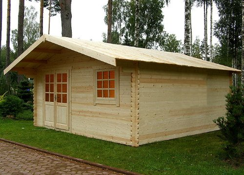 Gartenhaus Hamburg Blockhaus 500cm x 500cm - 44 mm Gartenlaube Holzhaus Holzlaube
