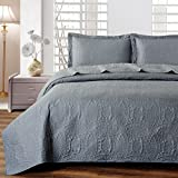 quilt set queen grey - Mellanni Bedspread Coverlet Set Charcoal - BEST QUALITY Comforter Oversized 3-Piece Quilt Set (Full/Queen, Gray)