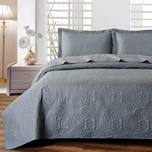 Mellanni Bedspread Coverlet Set Charcoal - BEST QUALITY Comforter Oversized 3-Piece Quilt Set (Full / Queen, Gray)