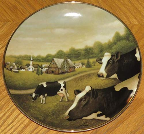 GRAZING in The Grass Lowell Herrero The American Folk Art Collection Cows Fine Porcelain Decorative Plate