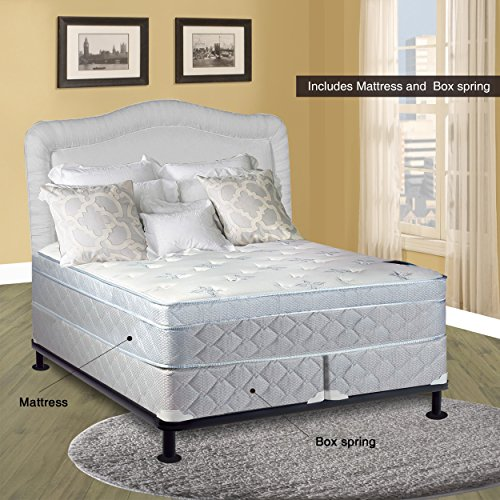 Spinal Solution, 11-Inch Medium plush Foam Encased Eurotop Pillowtop Innerspring Mattress And Wood Traditional Box Spring/Foundation Set, Good For The Back, No Assembly Required, King Size 79