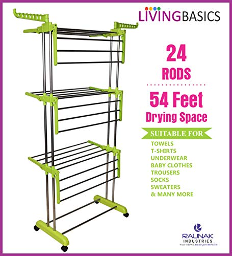 LivingBasics Heavy Duty Rust-Free Stainless Steel Foldable Compact Storage Double Pole Cloth Drying Stand/Clothes Dryer Stands/Laundry Racks with Wheels for Indoor/Outdoor/Balcony (Lime Green)