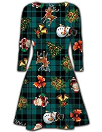 Oops Outlet Women's Christmas Swing Dresses Xmas Santa Rudolph Olaf Gift Snowman