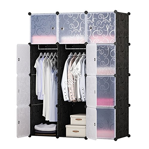(BRIAN & DANY 12-Cube Portable Closet, Plastic Wardrobe with Doors & 2 Hangers - Deeper Cubes Than Normal (14inch vs 18inch) for Larger Capacity)