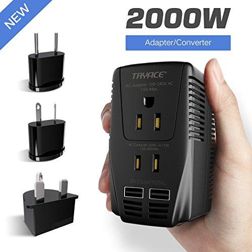 TryAce 2000W Voltage Converter with 2 USB Ports,Set Down 220V to 110V Power Converter for Hair Dryer/Straightener /Curling Iron, Travel Transformer for UK/AU/US/EU Plug Adapter(Exclusive) (Voltage Transformer Uk)