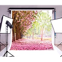 Laeacco Vinyl Photography Background Wedding Event Backdrop 10x10ft Romantic Pink Blossom Flowers Trees Scenery Backdrop Photo Studio Props