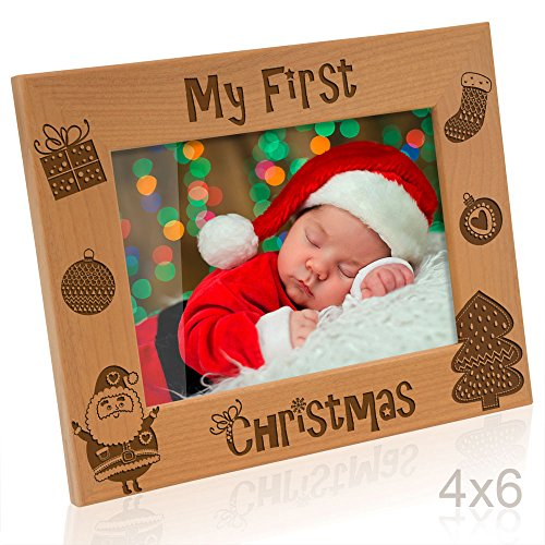 Kate Posh - My First (1st) Christmas Picture Frame, Engraved Natural Wood Photo Frame, Baby's First Christmas Gifts, New Baby Decor, Santa & Me Gifts (4x6-Horizontal (Vintage))