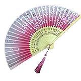 Panda Superstore Handheld Folding Fan Folding Fan Aya Silk Handheld Fan Chinese/Japanese Silk