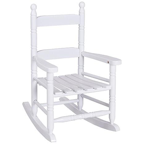 Costzon Kids Rocking Chair, Wooden Classic Porch Rocker, Double Slat Back Rocking  Chair (