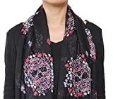Fashion-Floral-Sugar-Skull-Print-Infinity-Circle-Scarf-Black