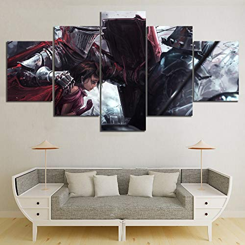 - kkxdp 5 Piece Knight Templar Protect Girl MovieCuadros Decoracion Paintings On Canvas Wall Art for Home Decorations Wall Decor-20x35 20x45 20x55cm-Frameless