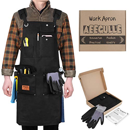Aeegulle Work Apron, Heavy Duty Waxed Canvas Tool Apron, 6 Pockets, Thick shoulder pad, Quick Release Buckle, Cross-Back Straps Adjustable M to XXL, Apron for Men & Women - Duty Pad 6 Heavy