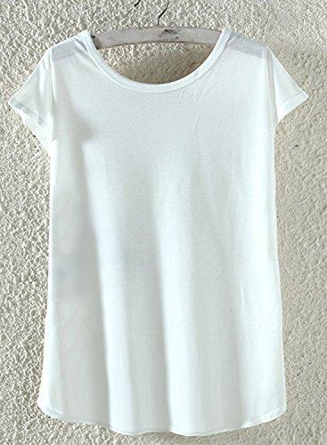 Azbro Mujer Moda Camiseta Suelta Estampado Elefante Blanco