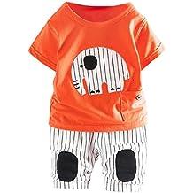 Amanod Newborn Infant Baby Cartoon Elephant T-shirt Tops Pants Outfits Clothes Sets
