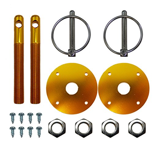 Aluminum Anodized Hood Pin Kit Flip Over GM Ford Gold Hot Street Rod Chevy