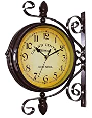Outdoor Garden Wall Clock, 15 Inch Classical 360°Rotation Double Sided Train Station Clock with Station Bracket Garden Clock Indoor Outdoor Decoration Waterproof Outdoor Clock