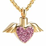 Angel Wing Hold White/Blue/Pink Crystal Heart