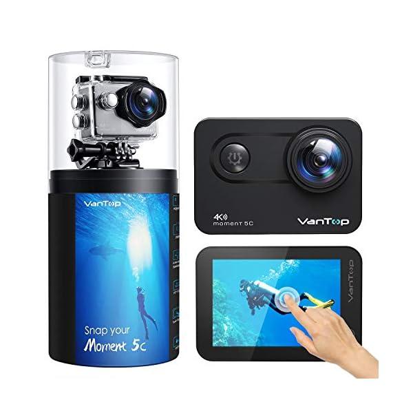 Caméra Sport Native 4K 60fps, VanTop Écran Tactile WiFi 20MP Caméra sous-Marine, 170°Angle,40M Étanche,EIS, 2.4G…