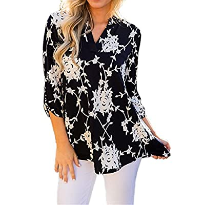 TnaIolral Women Shirt V Neck Floral Long&Half Sleeve Print Top Black