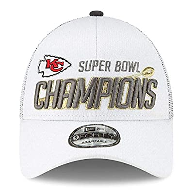 SBCRING 2020 Kansas City Chiefs Super Bowl LIV Champions Locker Room Adjustable Hat White