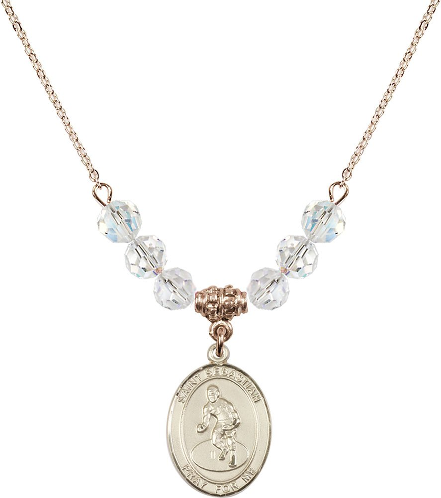 Gold Plated Necklace with 6mm Crystal Birthstone Beads & Saint Sebastian/Wrestling Charm. by F A Dumont
