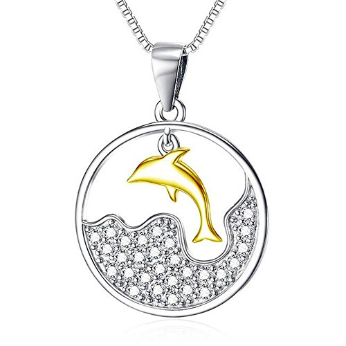 (LANGUANGLIN S925 Sterling Silver Creative Diamond Necklace Plated 18k Gold Jewelry Dolphin Pendant Fine Jewelry)
