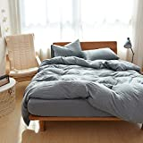 Adyonline 3 Pcs Jersey Cotton Comforter Cover Set Solid Pattern(1 Duvet Cover,2 Pillow Shams) Home Bedding Set for All Seasons-Breathable&Ultra SoftGrey Blue,Twin