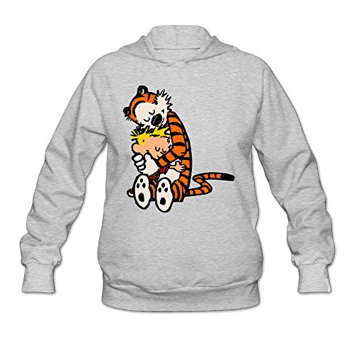 AK79 Women's Hooded Sweatshirt Calvin And Hobbes Tiger Hug Size S Ash