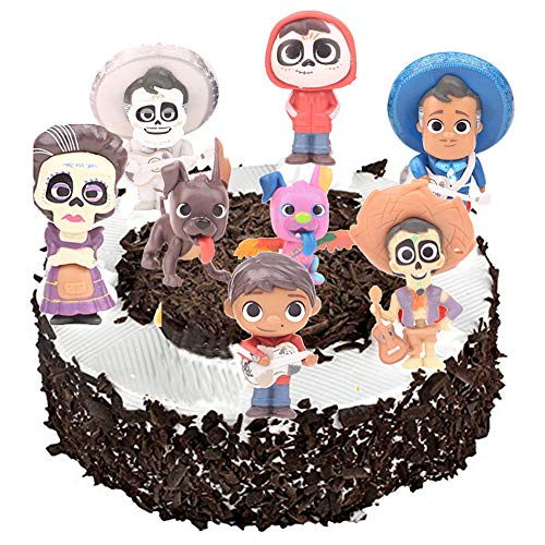 (8PCS Coco Movie Cupcake Toppers Miguel Cake Topper Birthday Party Decorations Action Figure)