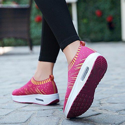 Enllerviid Vrouwen Comfort Platform Walking Sneakers Slip-on Shape Ups Fitness Toning Schoenen Rose