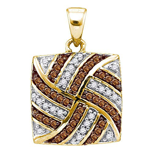 10kt Yellow Gold Womens Brown Diamond Square Cluster Pendant 1/4 Cttw ()