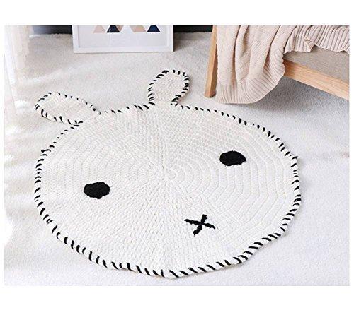 Ready to ship! White bunny Crochet rug Scandinavian modern round yarn carpet for nursery kids room knitted carpet for baby girls boy playroom floor playroom decor gift cotton knit rug arm knitting