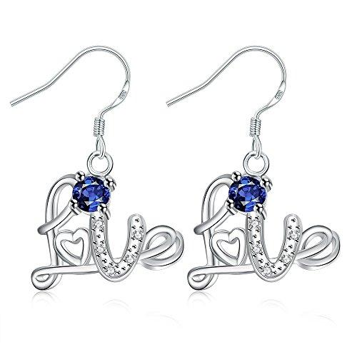 iCAREu Silver Plated Multicolor Zircon Love Post Earrings for Women (Blue)