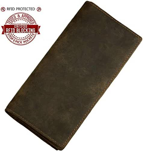 Itslife Men's Rodeo Genuine Leather Long Bifold Checkbook Wallet