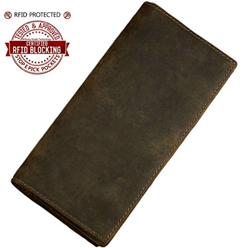 Itslife Men's RFID Blocking Crazy Horse Leather Vintage Long Bifold Wallet