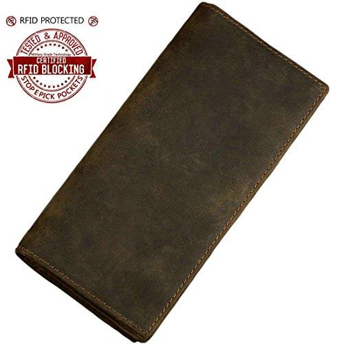 Itslife Men's RFID Blocking Crazy Horse Leather Vintage Long Bifold Wallet