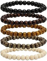 Wood Bead Bracelet Tibetan Buddhist Meditation Mala Prayer Beads Men Elastic Bracelet 6/8mm