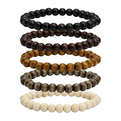 Beads Bracelet Fashion Watch - MILAKOO 5 Pcs Wooden Beaded Bracelet Bangle for Men and Women Elastic 8MM Beads