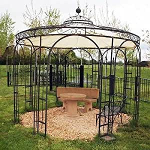 Mpire - Cenador de jardín (metal, hierro, 260 cm de diámetro ...