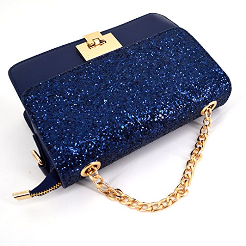 Chain Clutch Women Bag Crossbody Girl Tote Shoulder Handbag Goodbag Blue Sparkly Exquisite Sequin Boutique q6A6wIZ