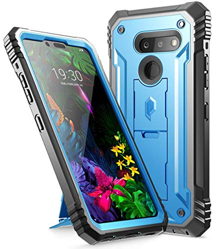 LG G8 ThinQ Rugged Case with Kickstand, Poetic Full-Body Dual-Layer Shockproof Protective Cover, Built-in-Screen Protector, Revolution Series, for LG G8 ThinQ Verizon/AT&T/Sprint/T-Mobile(2019), Blue