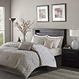 Madison Park MP10-1735 Biloxi Comforter Set Queen Silver,Queen